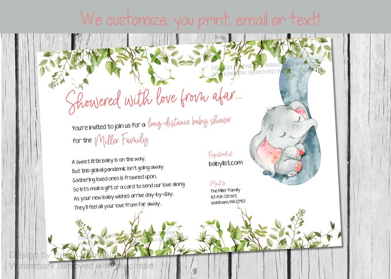 Girl Baby Shower By Mail Invitation  Elephant Baby Shower by image 0