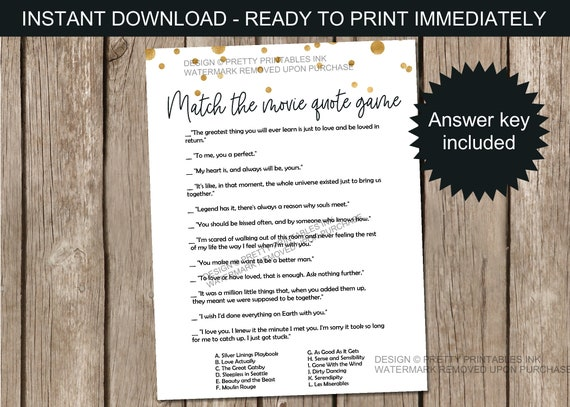 Printable movie love quotes game, bridal shower game ...