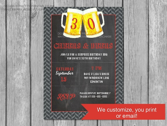 Printable Cheers And Beers Invitation Male 30th Birthday Dirty 30 Masculine Invite