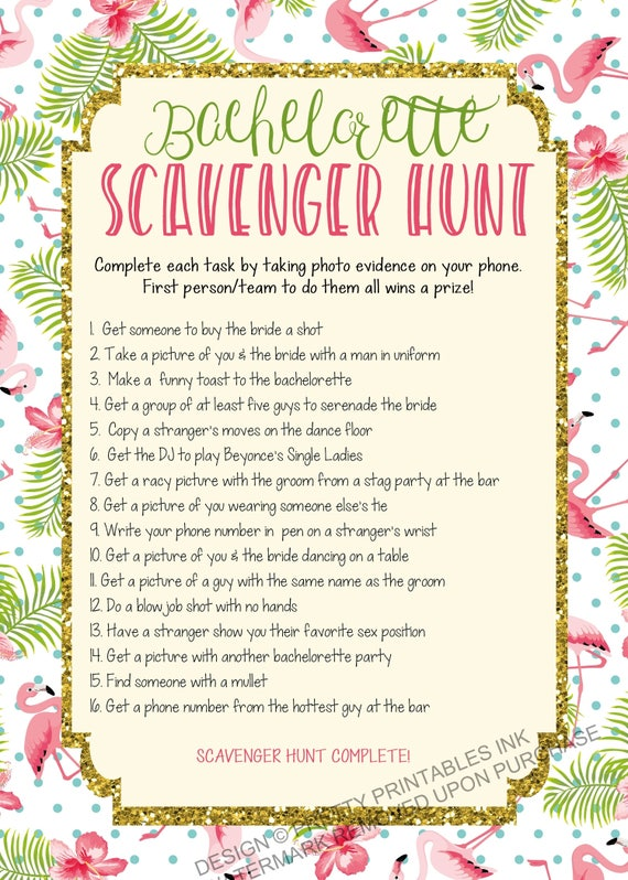 picture regarding Printable Bachelorette Scavenger Hunt referred to as Fast down load printable bachelorette scavenger hunt match