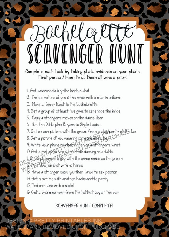 This is a graphic of Bachelorette Scavenger Hunt Printable for flirty