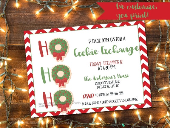 Cookie Exchange Invitation Cookie Swap Invite Christmas Cookie