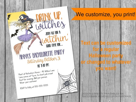 drink up witches halloween bachelorette invitation printable