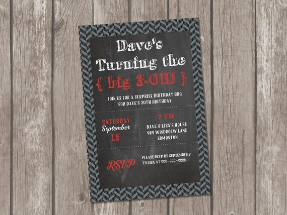 Printable Male Birthday Invitation Masculine 30th 40th Chalkboard