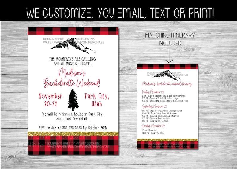 Mountain Bachelorette Weekend Invitation Printable Weekend in image 0