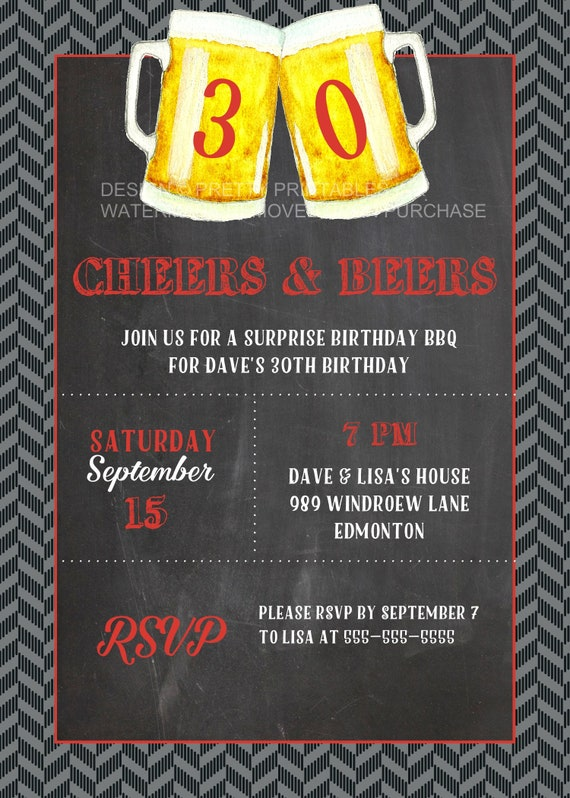 Printable Cheers And Beers Invitation Male 30th Birthday