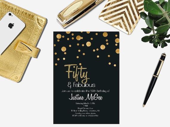 Printable 50th Birthday Invitation Male Invite
