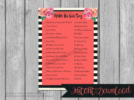INSTANT DOWNLOAD bridal shower games, love song game, engagement