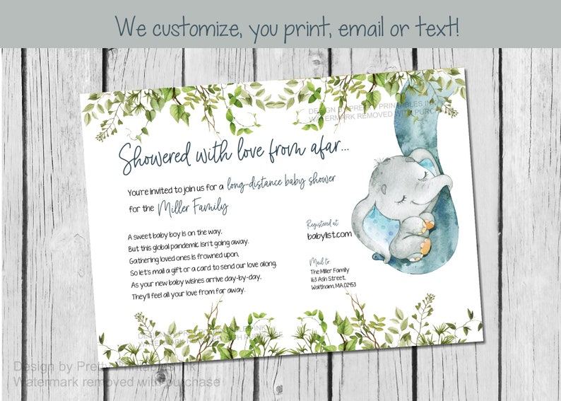 Boy Baby Shower By Mail Invitation  Elephant Baby Shower by image 0