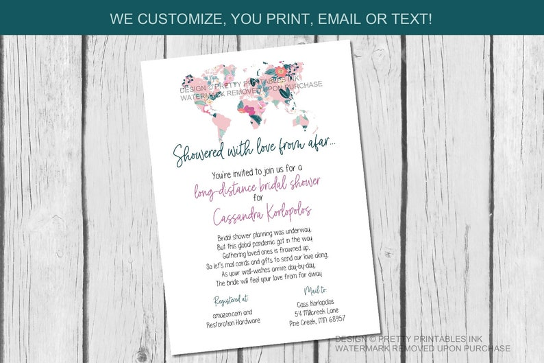 Bridal Shower by Mail Invitation  Long Distance Shower By image 1