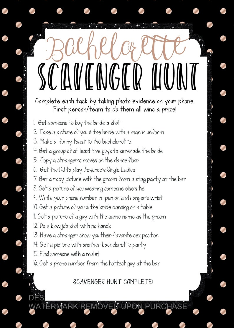 photograph about Printable Bachelorette Scavenger Hunt known as Prompt Down load printable bachelorette scavenger hunt sport, bachelorette bar recreation, bachelorette printable, scavenger hunt, consuming match