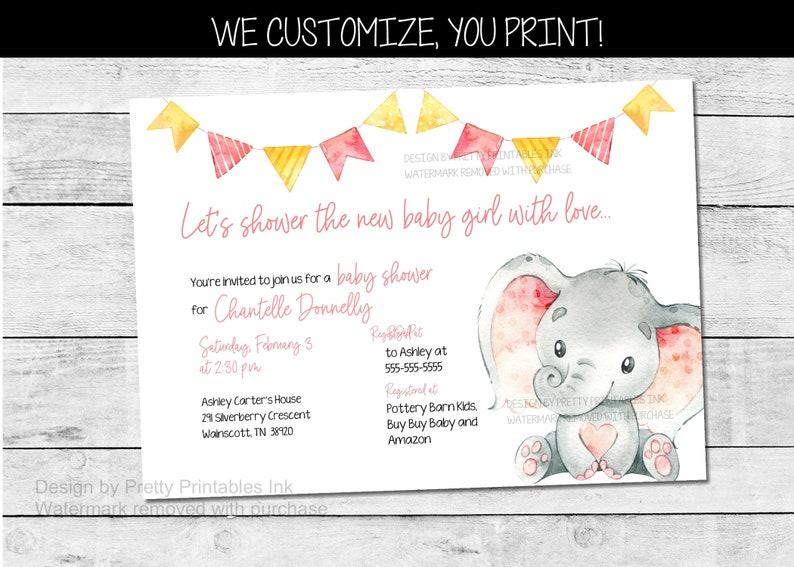 Girl Elephant Baby Shower Invitation Girl Baby Shower image 0
