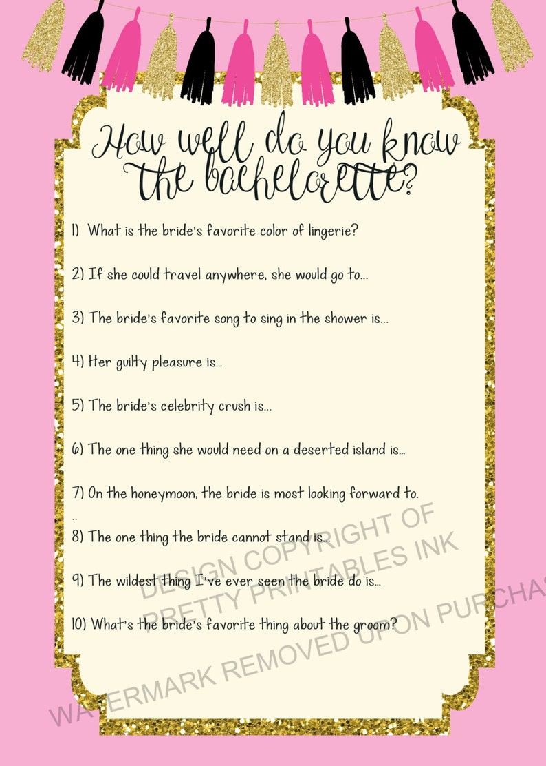 INSTANT DOWNLOAD printable bachelorette game / bachelorette quiz game /  bachelorette printable / bride quiz / how well do you know the bride