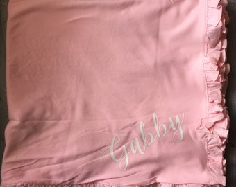 Personalized Pink or White Ruffle Edge Baby Blanket