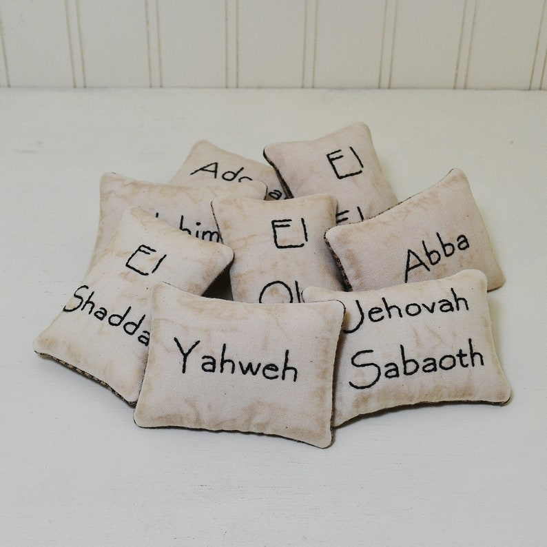 Hebrew Names of God Decorative Pillows, Hand Embroidered Primitive  Religious Bowl Fillers, Old Testament Bible Scripture Black Gingham Decor