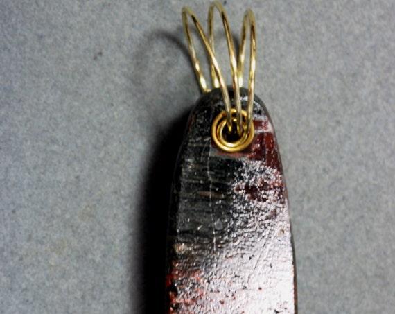 Dinosaur Bone pendant, fossilized brown red, brass twirl bail 112ct
