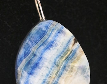 Pendant, Rare, from Turkey, Lapis Lace Onyx, blue white tan, silver bail 60ct