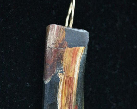 "Tiger's Eye pendant, Marra Mamba, golden red brown black tenorite cap, ""Black Cap-04"", gold bail 68ct"
