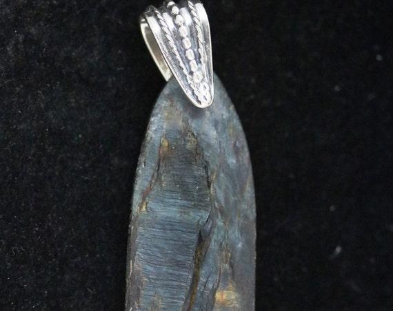 Pietersite pendant, blue brown gray, silver bail 70ct