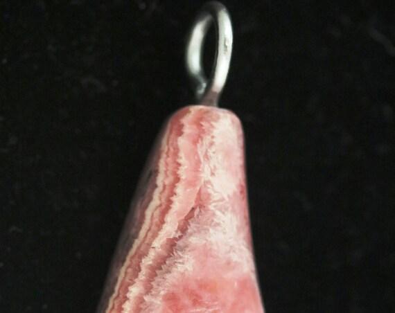 "Rhodochrosite pendant, red pink white, ""Flask"", aluminum bail 106ct"