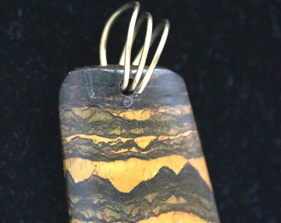 "Tiger Eye pendant, Marra Mamba, golden brown black, ""Black Mountains"", brass twirl bail 41ct"