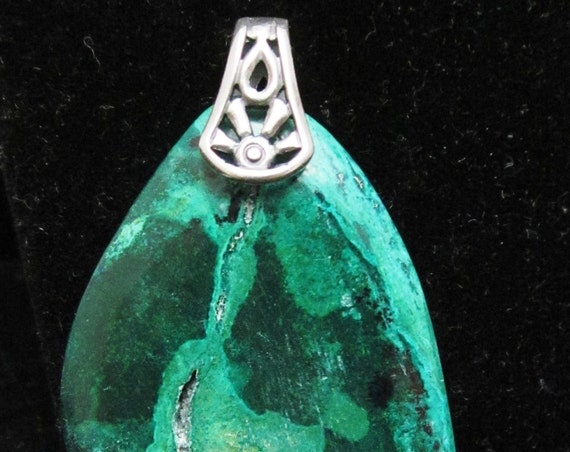 Old Stock Eilat Stone pendant, green dark blue, King Solomon's Stone, with silver pinch bail 83ct 2