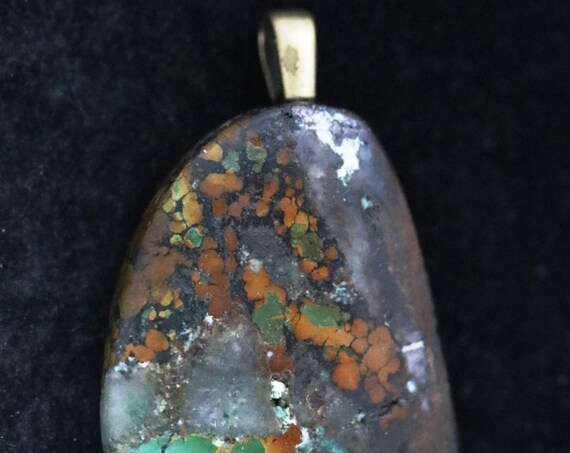 Old Stock Turquoise pendant, brown black green, pewter glue on bail 45ct