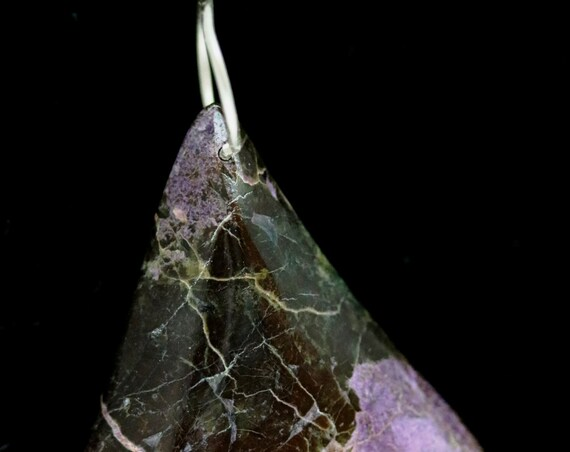 "Stichtite pendant, Tasmanian, purple lavender pink, ""Blackened Beauty"", silver jump bail 88ct"