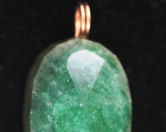 "Emerald Pendant, green, ""You Can't Do That"", gold twirl bail 125ct"