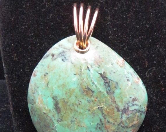 Old Stock Turquoise Pendant, gold twirl bail 50ct