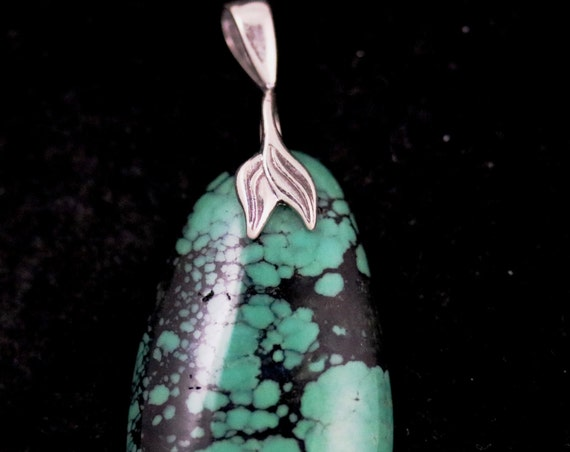 Turquoise pendant, silver leaf bail 34ct (2), December Birthstone