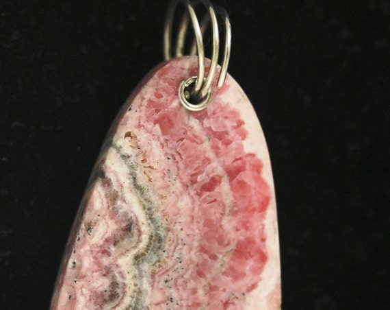 Rhodochrosite pendant, red pink white silver, silver twirl bail 85ct