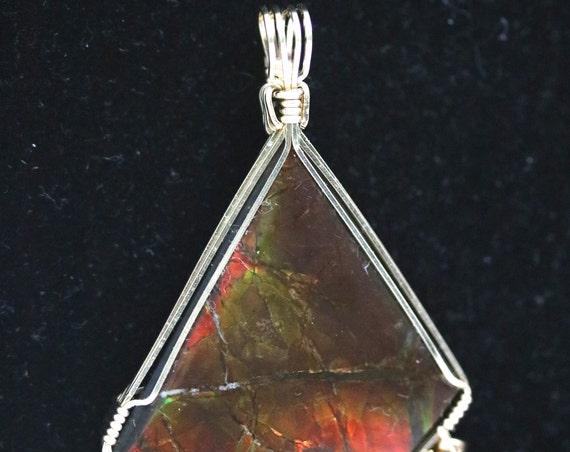 "Ammolite (Opal) pendant, red green yellow, ""Serrated Serenity"",  Citrine November birthstone, gemstones 43.5ct"