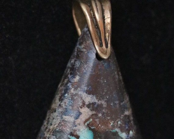Shattuckite pendant, brown aqua white, bronze bail 67ct