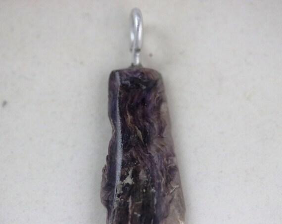 Charoite pendant, dark lavender, silver bail 42ct