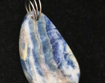 Pendant, Rare, from Turkey, Lapis Lace Onyx silver twirl bail 62ct