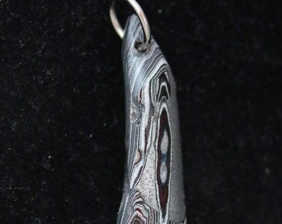 Old Stock Fordite pendant, black silver maroon, Detroit Agate, nickel jump bail 17ct