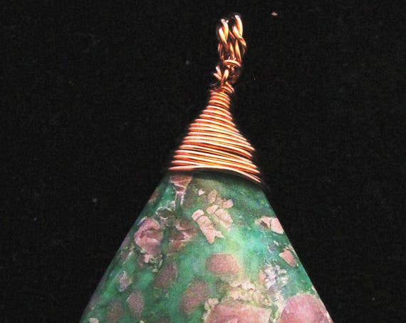 Variscite, Utahite, green white gray, Pendant brass wire wrap 58ct