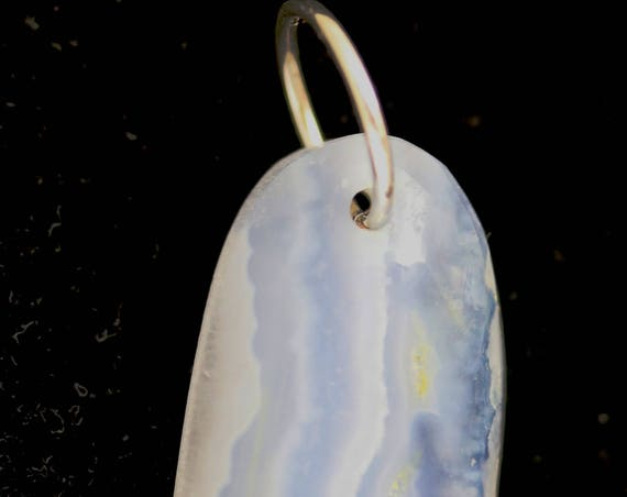 Holly Blue Lace Agate pendant, silver jump bail 31ct