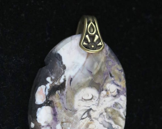 Tiffany Stone pendant, purple cream black, silver sunrays bail 78ct