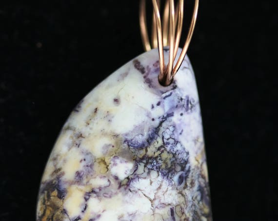 "Tiffany stone pendant, cream purple tan, ""Purple Lightning"" gold twirl bail 45ct"