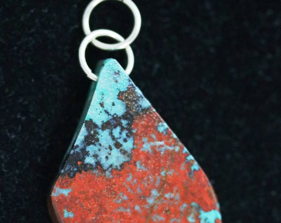 "Sonoran Sunrise pendant, red aqua black, ""Regal Red"", nickel jumps bail 112ct"
