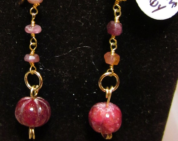 Earrings J, Carved Ruby Nuggets, Tourmaline bead chain, gold lever backs