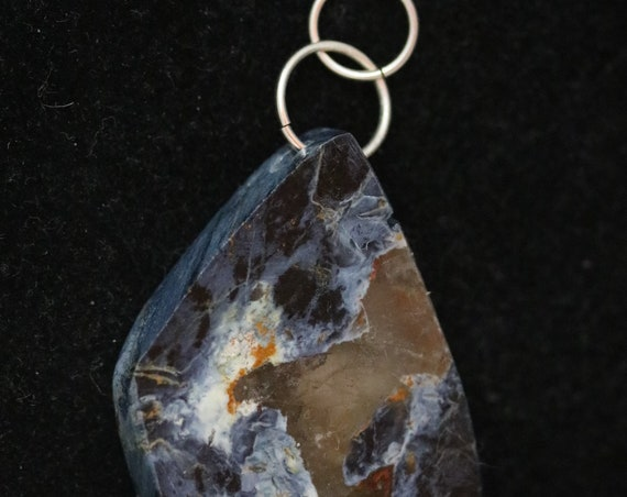 Pietersite pendant, dark indigo blue light blue brown white chatoyant, silver jumps bail 105ct