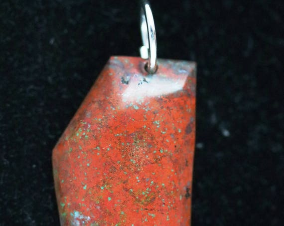 "New Mexico Bella pendant, red green black, ""High Side"", silver jump bail 69ct"