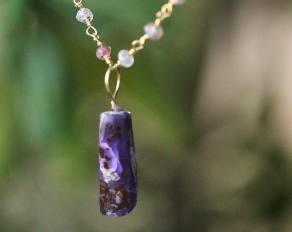 "Old Stock Sugilite Pendant on Gold Rose Quartz 18"" chain Necklace"