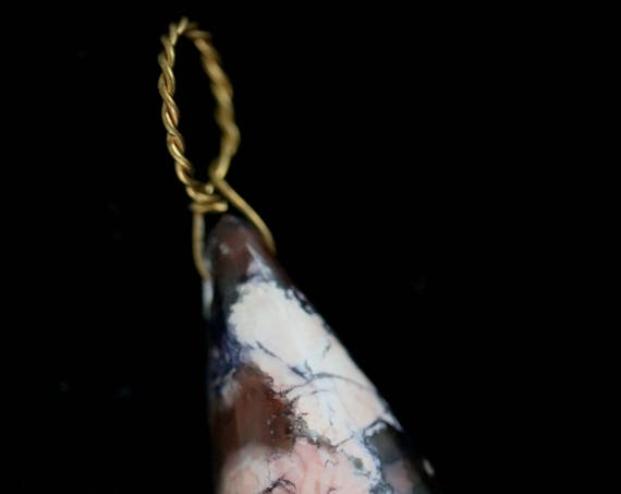 "Tiffany Stone pendant, cream maroon carmine purple, ""Tender Teardrop"", twirl bail 49ct"