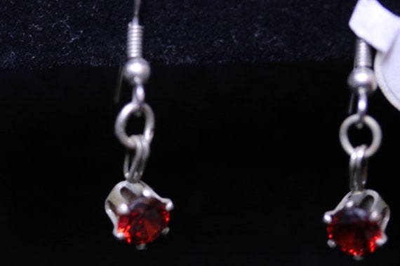 Earrings J, Garnet faceted gemstones in silver bezels surgical stainless fish hooks January birthstone 10ct
