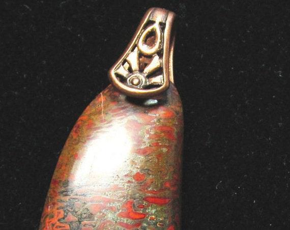 Dinosaur Bone Pendant, fossilized brown, copper bail 34ct