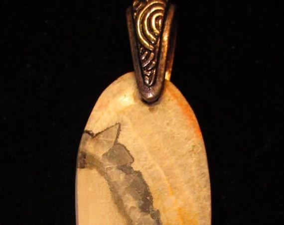 Cerussite, Barite Galena, Pendant, white black gray silver peach, pewter bail 50ct